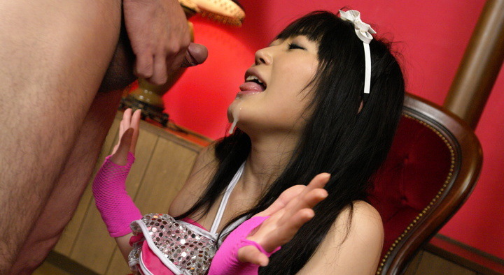 Hello Mikity Japanese dollhouse pokes her hairy pussy with a huge dildo