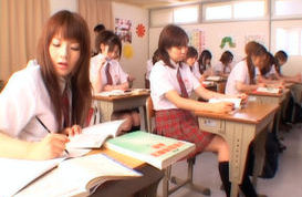 Beautiful Japanese girls learning their lesson
