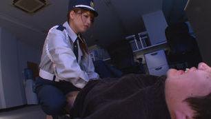 Policewoman Akiho Yoshizawa makes a footjob for a burglar