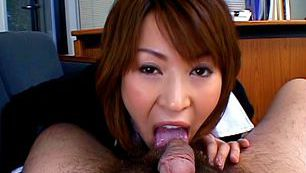 Jun Kusanagi Lovely Asian model gives a sensual blowjob on a date