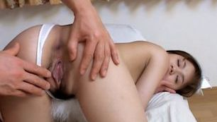Cute Japanese chick cum on tits!
