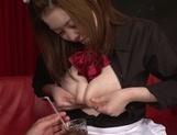 Busty Asian maid with milking tits Uehara Hinano likes titfuck