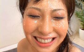 Harumi Asano Asian chick in hard bukkake