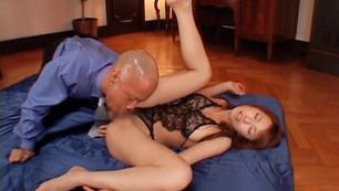 Astonishing Asian hottie with shaved pussy Riri in Asian anal action