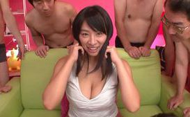 Horny babe Hana Haruna gets nailed in group action