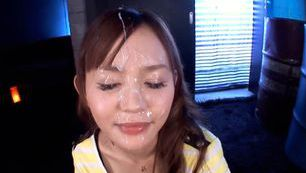 Teen Emiri Okazaki earns a facial with a POV blowjob