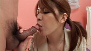 Mina Nakano gives an amazing blowjob and takes cum in mouth.