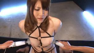 Big busty Japanese beauty bonded and sucking cock.