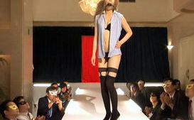 Gorgeous Japanese models in stockings on the catwalk