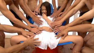Horny Kana Tsuruta enjoys group hardcore sessions
