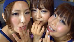 Three insatiable Japanese milfs attack one big cock