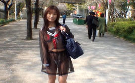 Mikan Amazing Asian schoolgirl enjoys her flashing fun