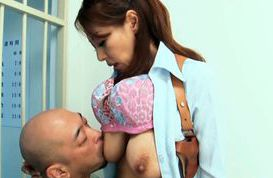 Big titted mature Sanae Asou fucks a guy behind bars