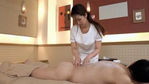 Japanese MILF gives a sex massage with cum in mouth