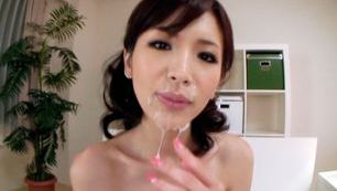 POV on cute Japanese model who goes wild on a cock