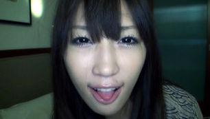 Mami Fujie Asian babe gives blowjob