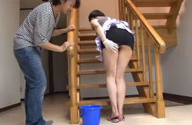 Horny mature Japanese AV Model seduces hot guy and rides his rod