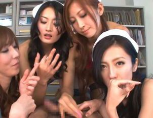 Arousing Japanese babes in wild gang bang