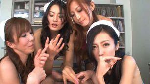 Arousing Japanese babes in wild gang bang
