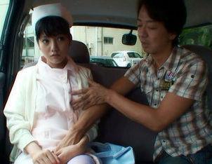 Hot Asian nurse has sex in a car