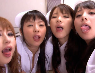 Maki Houjo, Kokomi Naruse,Rui Santome,and Erii Akira Hot nurses love to fuck