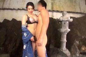 Naughty Japanese AV Model enjoys an outdoor bath with partner