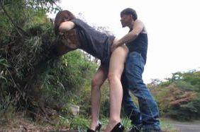 Hot milf Akari Shimizu gets hard pounded in the park