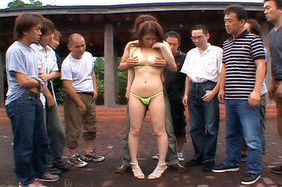 Rinoa Hinata Hot Asian babe gets an outdoor gangbang