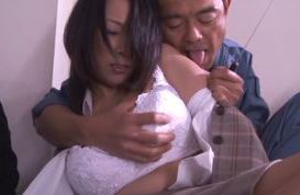Amazing Asian milf gets screwed by a burglar in the office