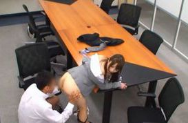 Teen fucked in her office suit while in the conference room