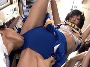 Crowed Japanese cheer girls are having sex fun in Bus