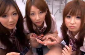 Kokomi Naruse, Hiyori Nanoka and Hinami Kawasumi suck cock after school lunch!