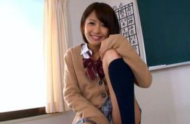 Schoolgirl Yuuki Natsume shows us upskirt and sucks cock