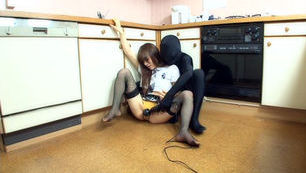 School girl gets her pussy rammed hard in the kitchen