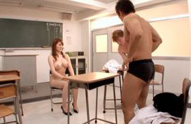Naked school teacher Momoka Nishina has sex with a couple of students
