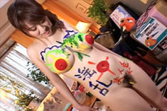 Nana Aoyama Naughty Asian Teen Is Used As A Painting Canvas And Has Her Big Tits Decorated