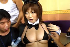 Rio Hamasaki Asian Chick In A Bunny Costume Shows Big Asian Tits Off