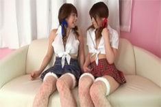 Horny Japanese girls Arisa Aoyama and Saki Asaoka poke anal holes