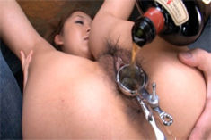 Chick with hairy pussy Karin Tsubaki enjoys pussy and anal rubbing